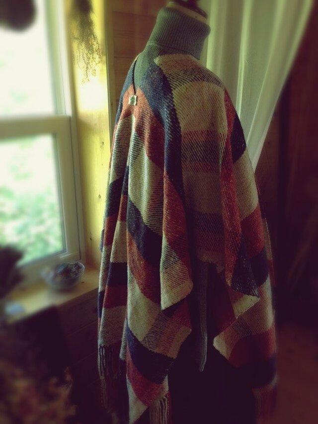 手織りツイードのポンチョの画像1枚目