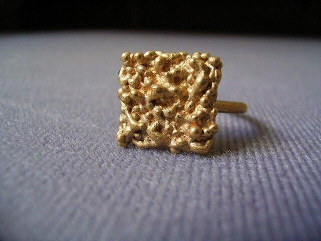 粔籹(おこし)Ring-四角 真鍮/K18gpの画像1枚目