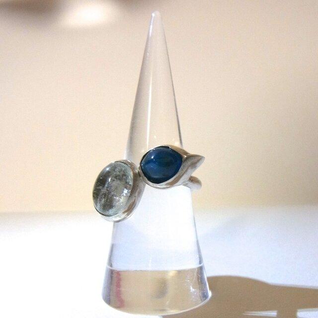 ◆SALE◆アパタイトとアクアマリンのリング(SV925、11号)の画像1枚目