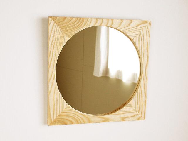 木製 鏡「四角に丸」栓(セン)材1 ミラーの画像1枚目