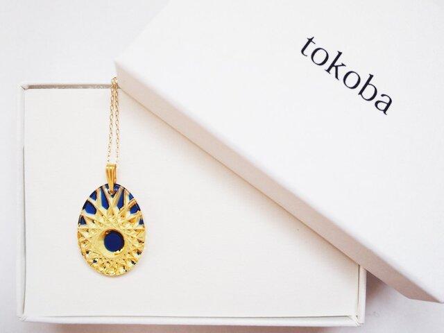 tokoba クリスタルネックレス AD-spider web (blue)の画像1枚目