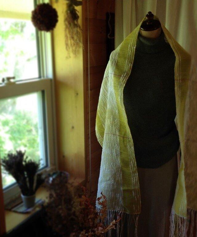 「N様ご注文」手織り リトアニアリネンとコットンのストール イエローの画像1枚目