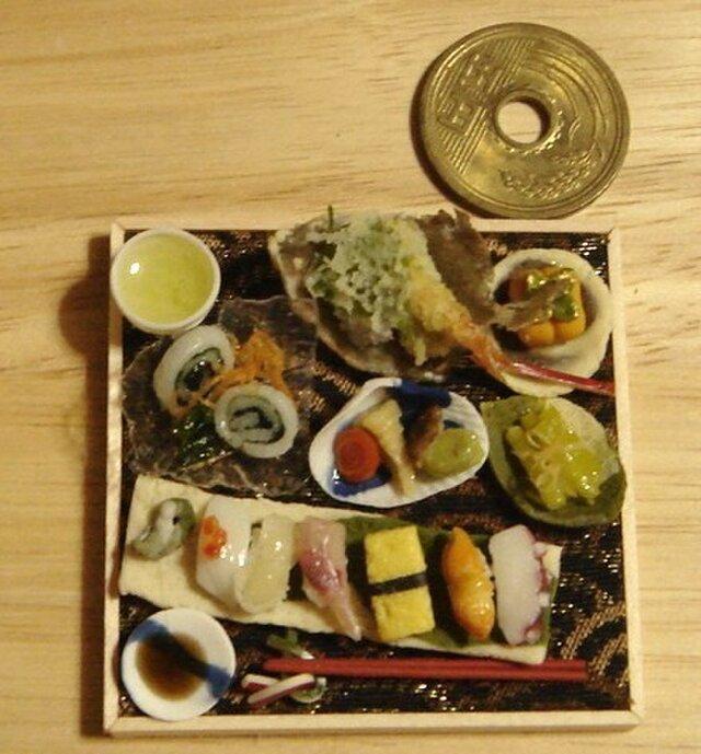 ★カレイの姿揚げ&にぎり寿司和の御膳【金襴織り】の画像1枚目