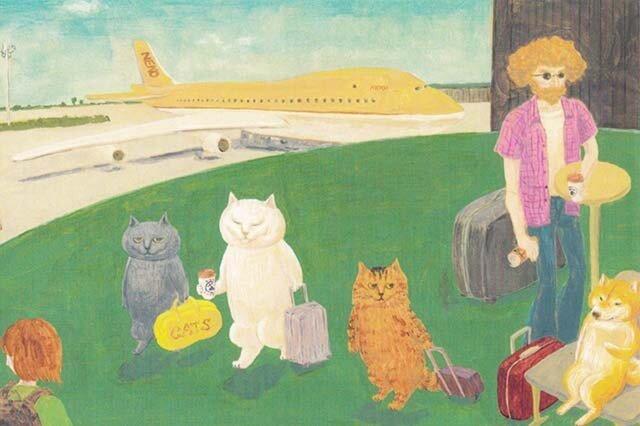 カマノレイコ オリジナル猫ポストカード「空港にて」2枚セットの画像1枚目