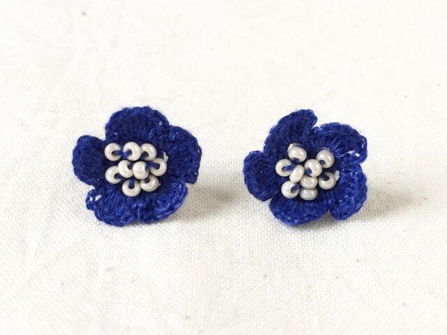 flower ピアス B  - ブルーの画像1枚目