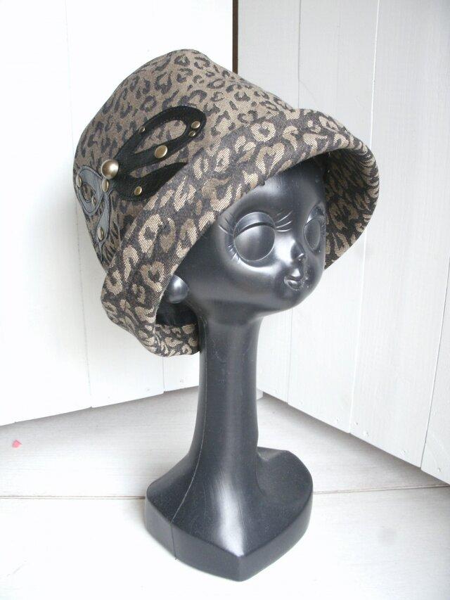 レオパード柄の帽子(リボン)の画像1枚目