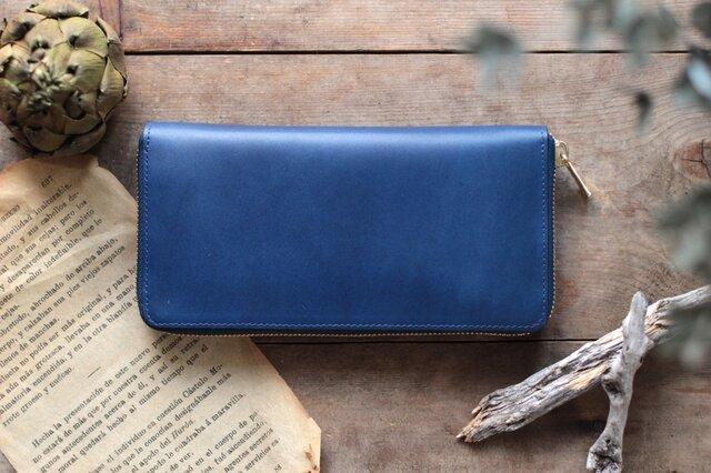 藍染革[migaki] ×オイルレザー ラウンドファスナー長財布の画像1枚目