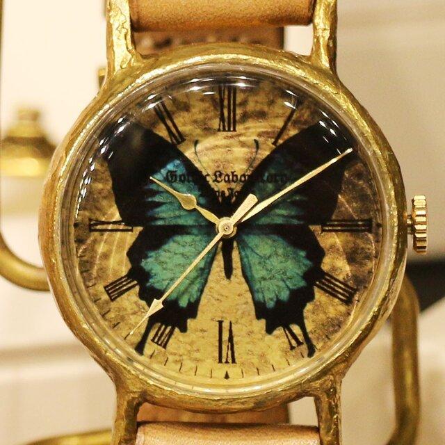 オオルリアゲハの腕時計 Classic Wristwatch blue butterfly Lサイズの画像1枚目