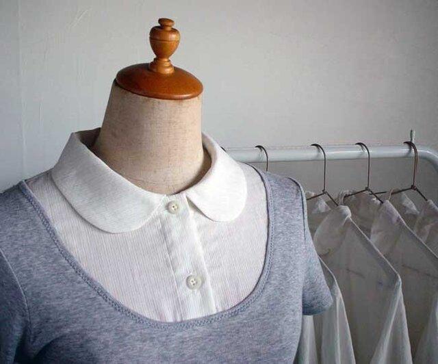 丸襟付け襟のインナーバージョン(半袖杢グレー)の画像1枚目
