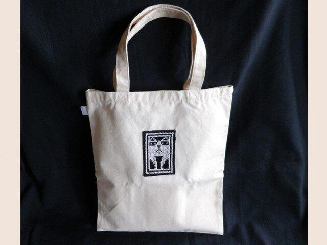 GorgonCatクロスステッチ布トートバッグの画像1枚目
