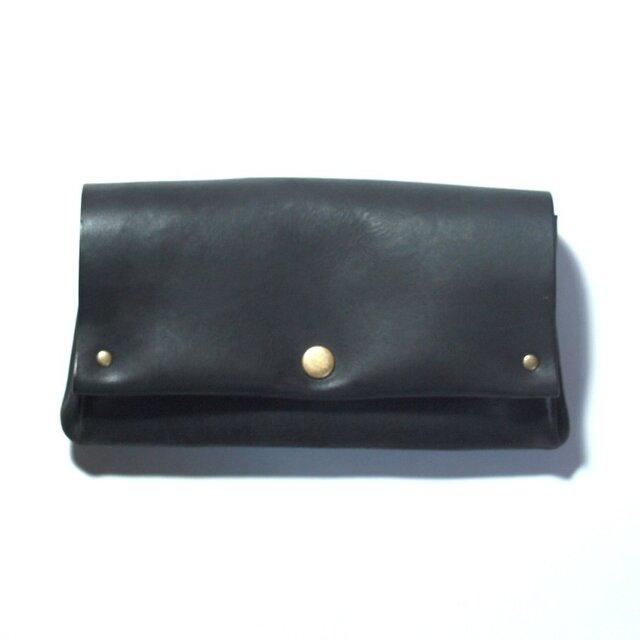 縫製のないふんわり長財布(牛革/プルアップ/ヌバック仕上げ/Black)の画像1枚目