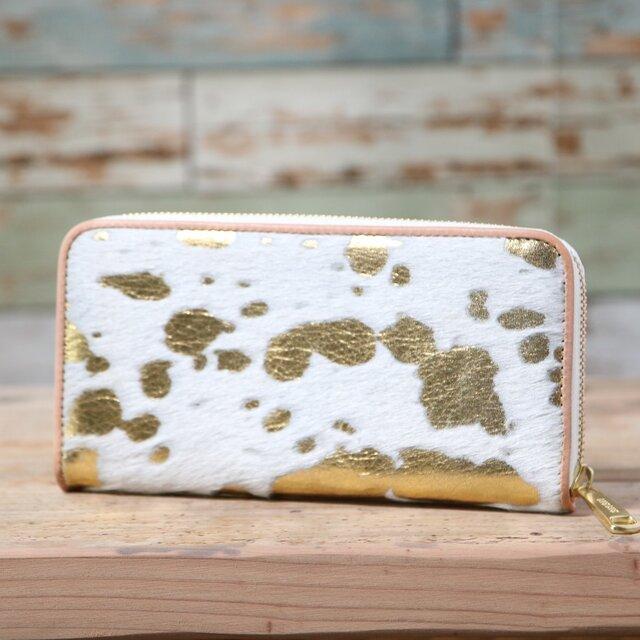 イタリア産 毛付き牛革 白×ゴールド 長財布 ラウンドファスナー 牛革 皮 ハンドメイド 手作りの画像1枚目