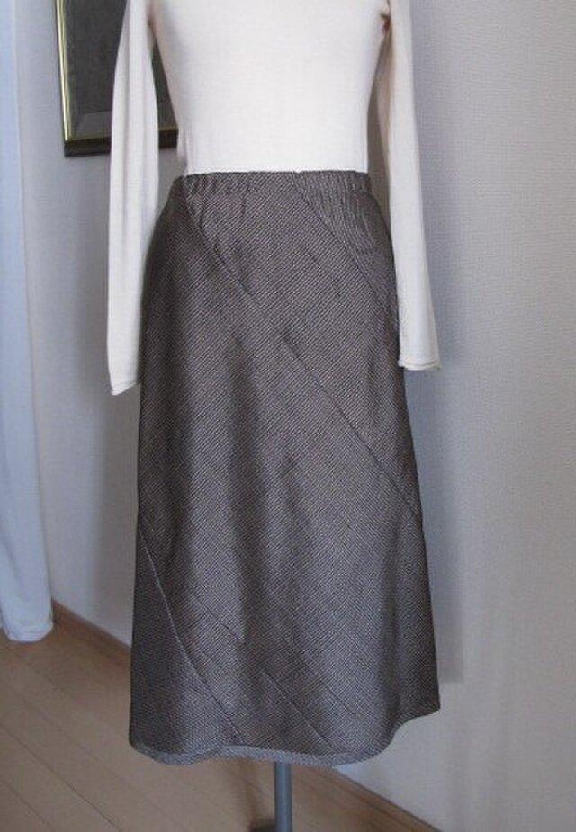 大島紬のフレアースカートの画像1枚目