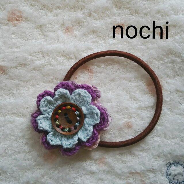 毛糸のお花のヘアゴムの画像1枚目