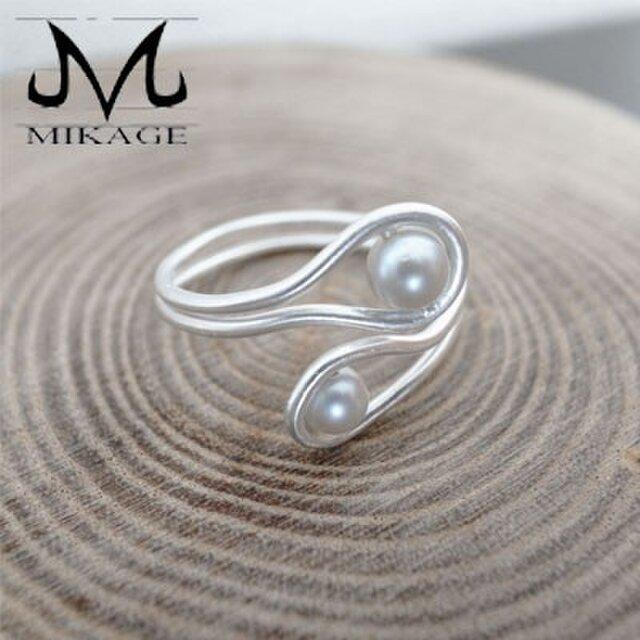 Clutch Pearl Ring:銀925シルバーアコヤ真珠リング(御影宝飾工房)の画像1枚目