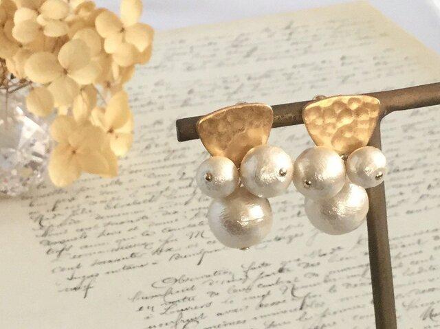 秋冬新作 gold × cotton pearl pierce ピアス/ノンホールピアスの画像1枚目