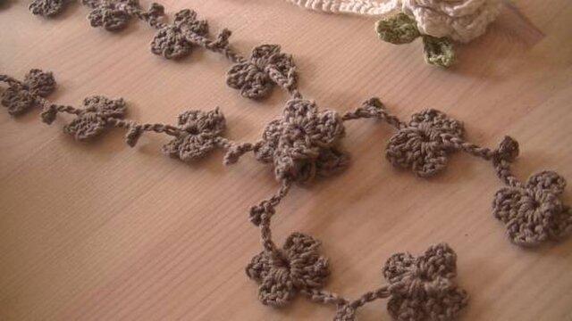 手編み*オーガニックコットン糸のラリエット♪の画像1枚目