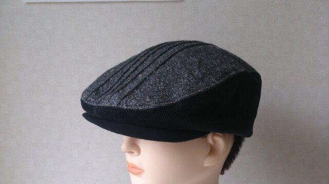 魅せる帽子☆ウールツィードとコーデュロイのバイカラーハンチングの画像1枚目