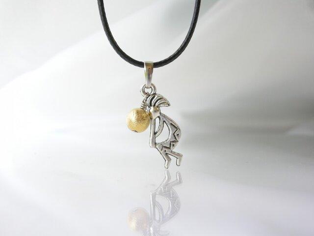 幸運のギベオン隕石(ゴールド) & 幸運の天使 ココペリ ペンダント 天然石の画像1枚目