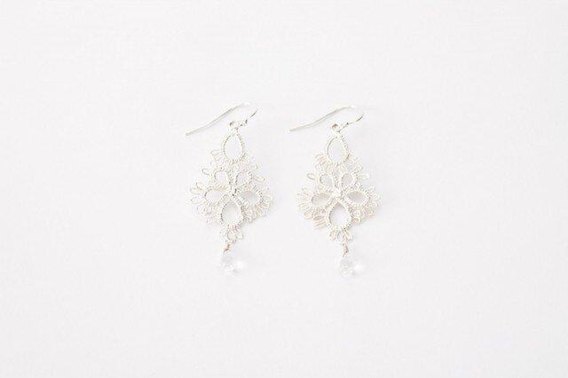 Lace pierced earring Flowerdrop silverの画像1枚目