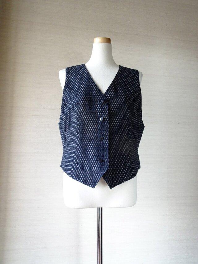 手織り久留米絣:リバーシブルのベスト(W-46)の画像1枚目