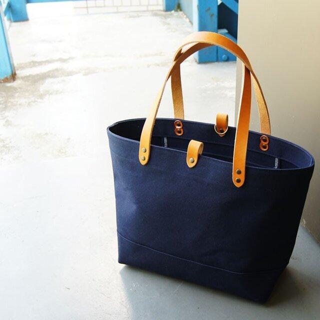 たっぷり容量6号帆布のトートバッグ~紺(倉敷帆布)~の画像1枚目