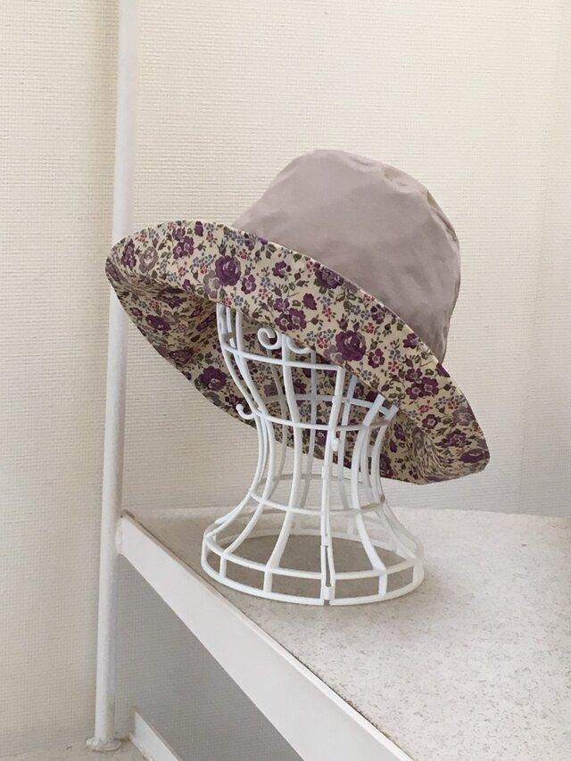 リバティ雨帽子 リバーシブルレインハット 60の画像1枚目