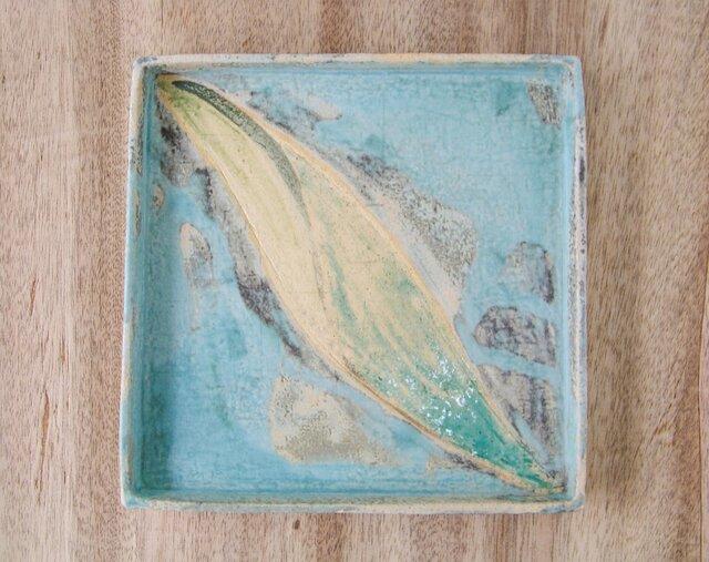 22cm角皿 (揺れる葉っぱ)の画像1枚目
