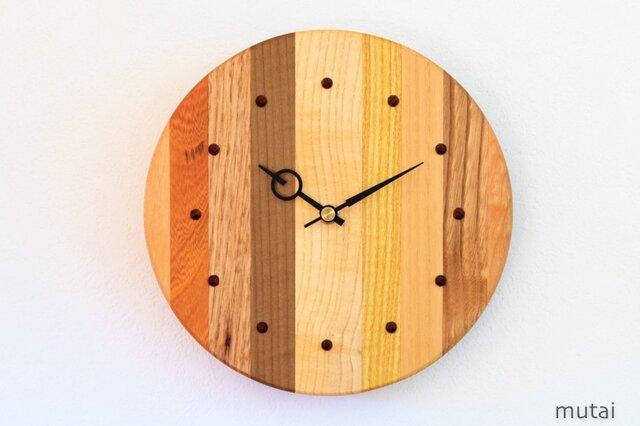 寄せ木の壁掛け時計 円形28の画像1枚目