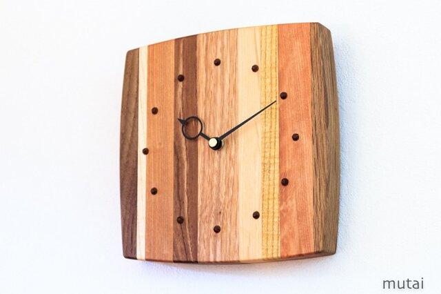 寄せ木の壁掛け時計 曲線13の画像1枚目