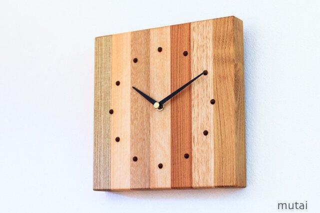 寄せ木の壁掛け時計 四角6の画像1枚目