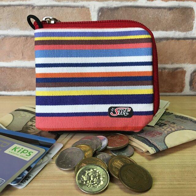 お洒落で機能的!旅に便利な、カード・お札・コイン用 先染め帆布財布 赤系生地赤ファスナーの画像1枚目
