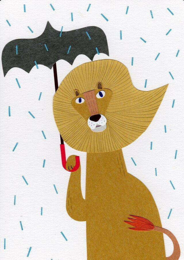 「ライオンと傘と雨」ポストカード2枚セットの画像1枚目
