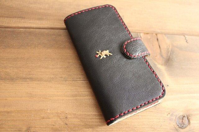 タンニン鞣しレザー 手縫い手帳タイプ スマホケース(iPhone7 / 8/ SE)の画像1枚目